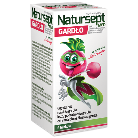 Natursept MED sore-throat lollipops, cherry flavored